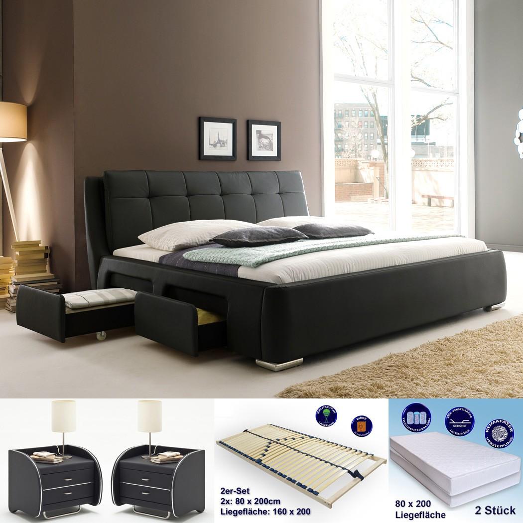 polsterbett alvaro 160x200 schwarz 2x nako goar rost matratze wohnbereiche schlafzimmer. Black Bedroom Furniture Sets. Home Design Ideas