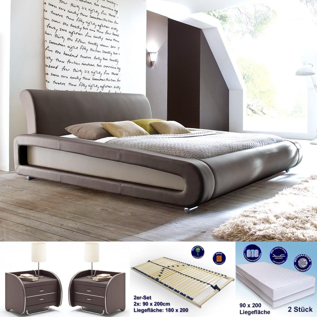 polsterbett blain 180x200 braun 2x nako goar lattenrost matratzen wohnbereiche schlafzimmer. Black Bedroom Furniture Sets. Home Design Ideas
