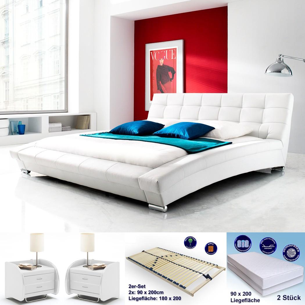 polsterbett emilo 180x200 weiss 2x nako goar matratze rost wohnbereiche schlafzimmer. Black Bedroom Furniture Sets. Home Design Ideas