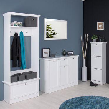 Garderobenset Landström 145 weiß Garderobe Sideboard Schuhschrank