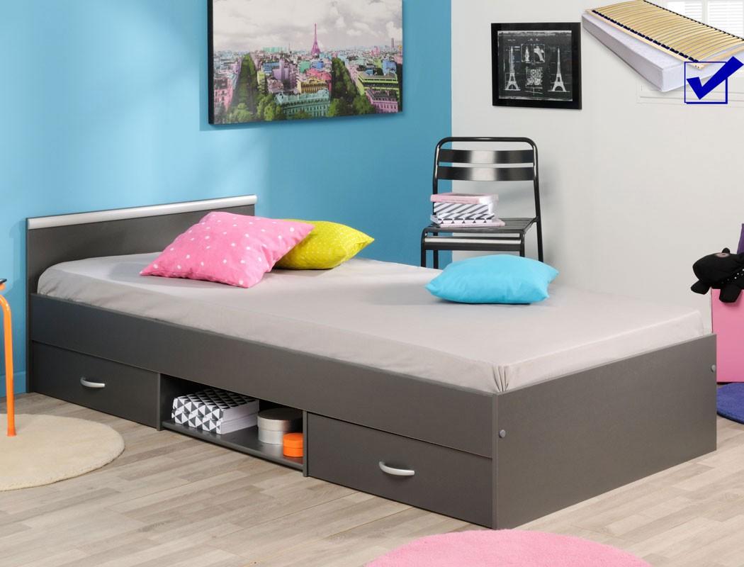jugendbett leader 6 1 grau 90x200 2x bettkasten lattenrost matratze wohnbereiche schlafzimmer. Black Bedroom Furniture Sets. Home Design Ideas