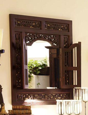 Wandspiegel Jammu 80x90x5 cm Akazie massiv kolonial Spiegel Esszimmer