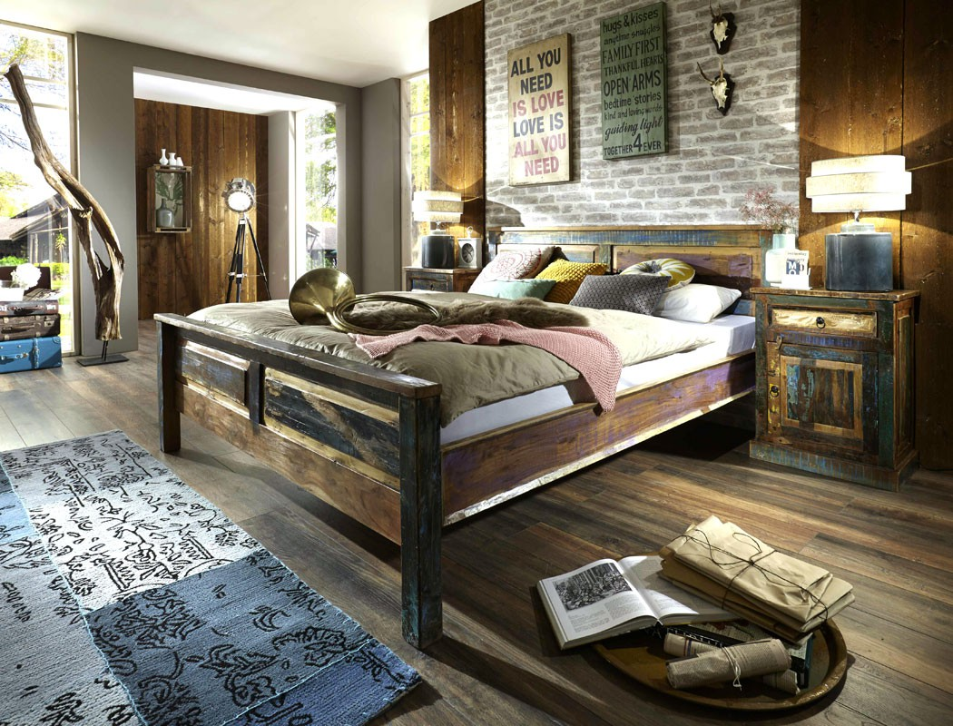 massivholzbett delhi 180x200 altholz massiv bunt doppelbett used look wohnbereiche schlafzimmer. Black Bedroom Furniture Sets. Home Design Ideas