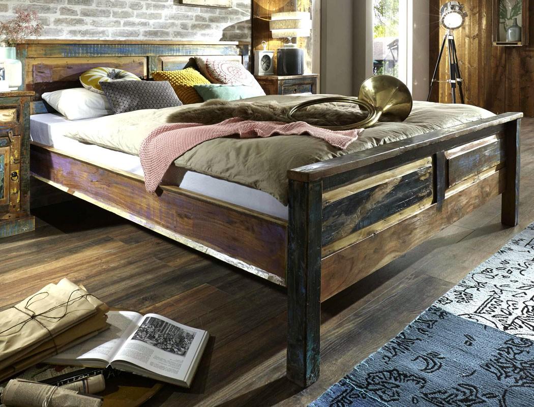 massivholzbett delhi 180x200 altholz massiv bunt doppelbett used look wohnbereiche schlafzimmer. Black Bedroom Furniture Sets. Home Design Ideas