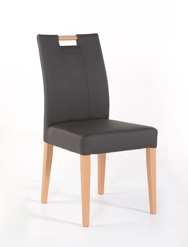 Stuhl louisa kunstleder massivholz polsterstuhl mit griff for Stuhle esszimmer massivholz