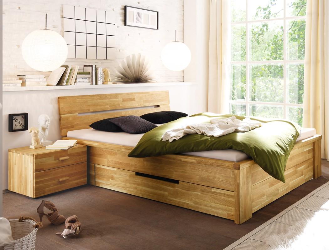 Massivholzbett Caspar + Nachttisch Wildeiche geölt Stauraumbett Bett ...