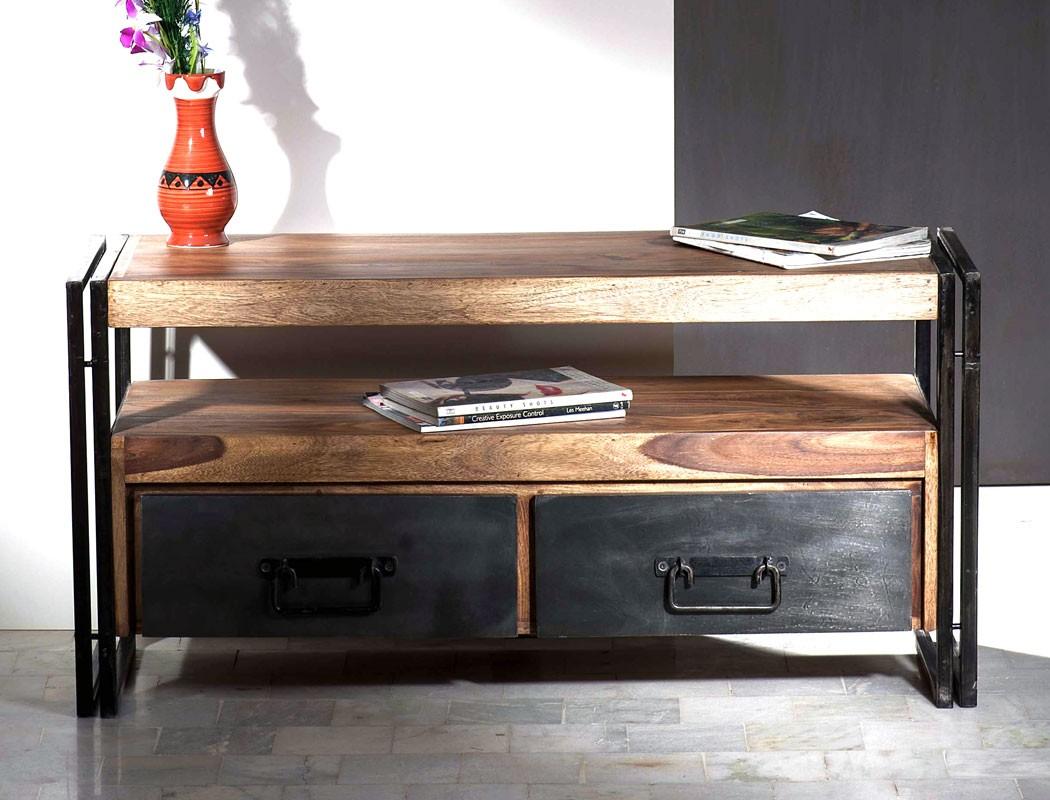 wohnzimmer bocas sheesham altmetall lowboard 2x regal tisch used look wohnbereiche wohnzimmer. Black Bedroom Furniture Sets. Home Design Ideas