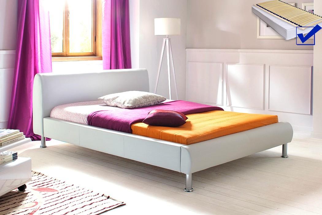 Polsterbett mirco 140x200 wei kunstleder rost matratze - Schlafzimmer komplett 140x200 ...