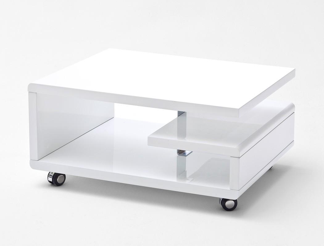 Couchtisch 74x60x36 Cm Hochglanz Weiß Sofatisch Auf Rollen