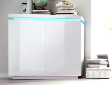 Kommode Odin 120x114x40 cm Hochglanz weiß LED Beleuchtung Schrank