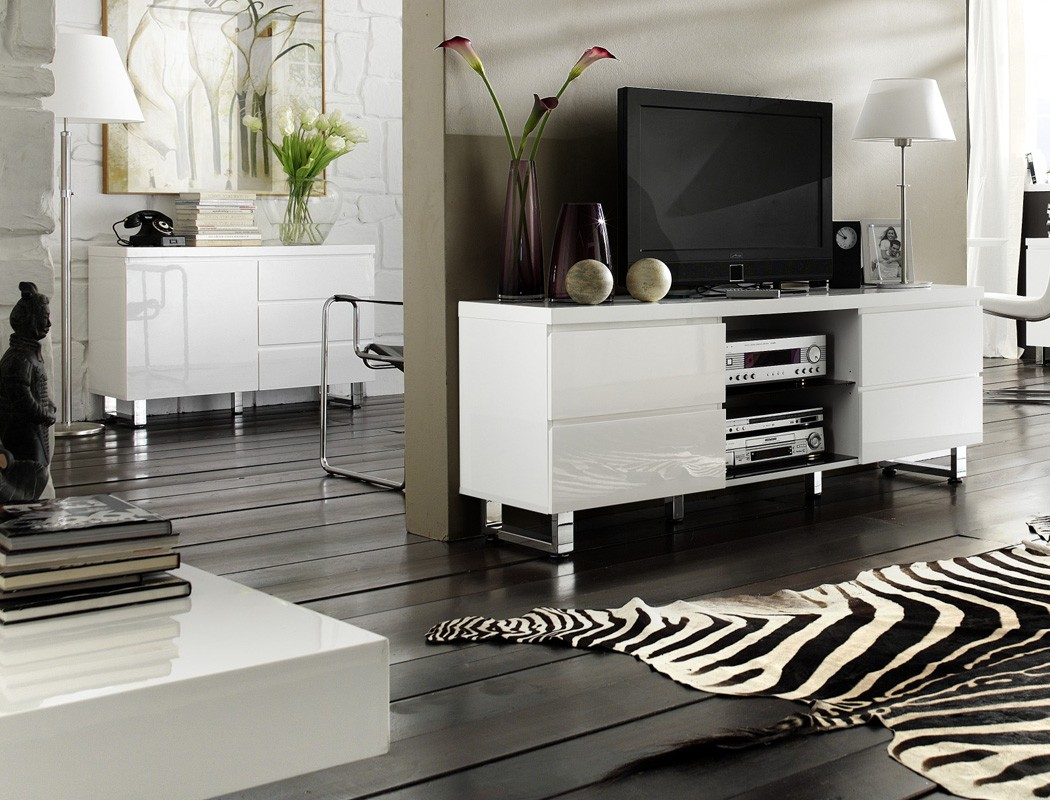 sideboard perth 111x74x42 cm hochglanz wei anrichte schrank esszimmer wohnbereiche esszimmer. Black Bedroom Furniture Sets. Home Design Ideas