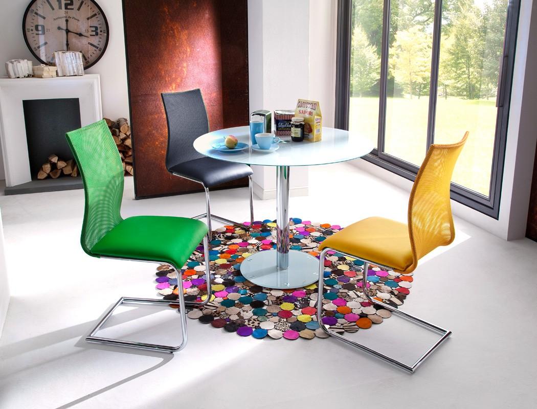 Glastisch rund 100x77 cm weiß Esstisch Säulentisch Rundtisch Tisch ...