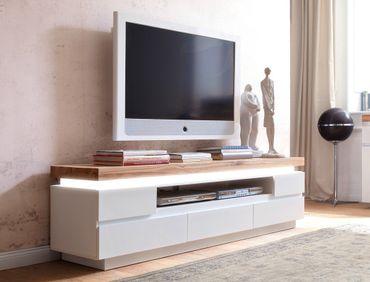 Lowboard Rosita 175x49x40 cm weiß Asteiche TV-Board LED Beleuchtung