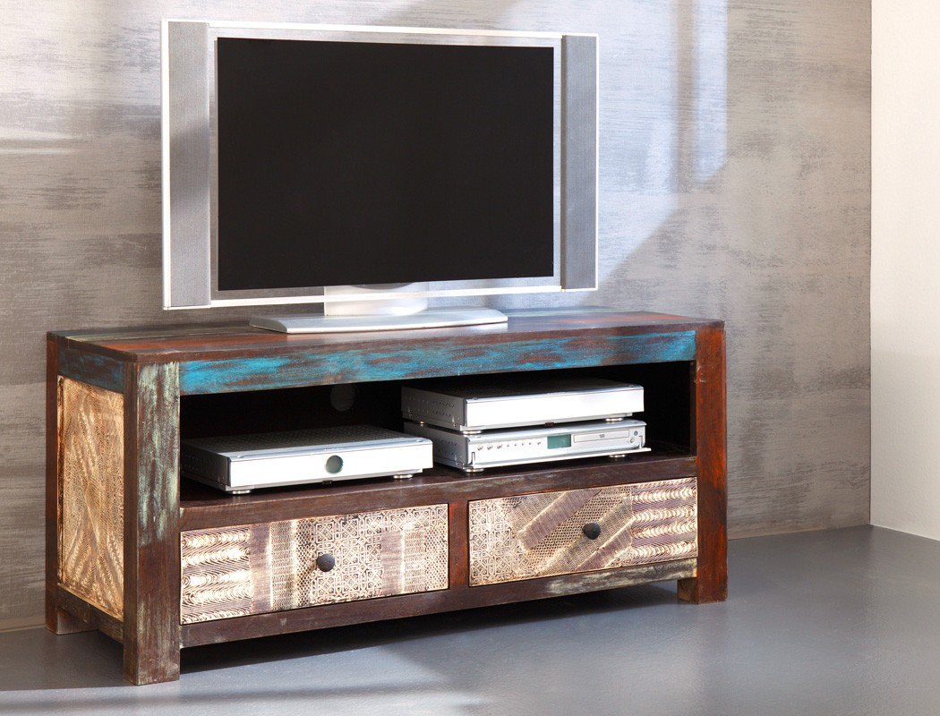 Lowboard 130x60x55 cm Mango Metall TV-Möbel TV-Schrank Used Look ...