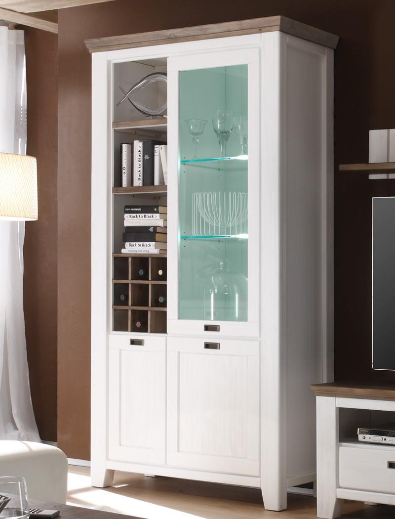 Vitrine Barnelund 120x210x45 cm Akazie weiß Glasschrank Wohnzimmer