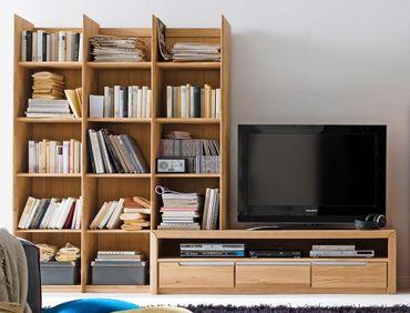 Medienwand Pisa 20 Eiche bianco massiv Lowboard Regal Wohnwand TV-Wand