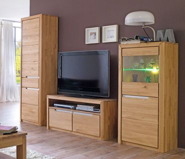 Wohnwand Pisa 26 Eiche bianco massiv 3-teilig Medienwand TV-Wand