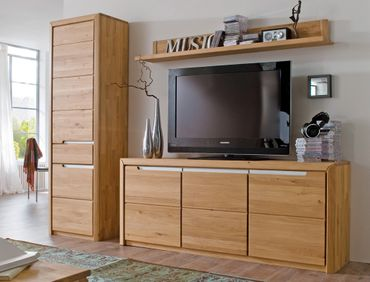 Wohnwand Pisa 33 Eiche bianco massiv 3-teilig Medienwand TV-Wand