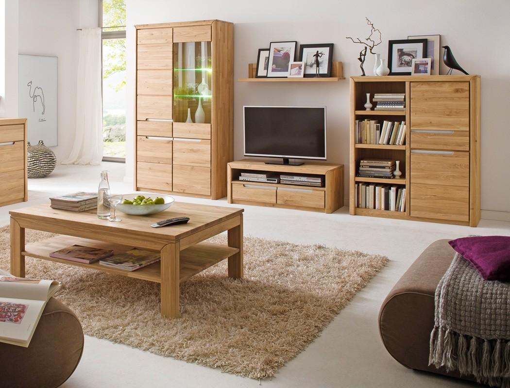 Wohnzimmer pisa 40 eiche bianco massiv 5 teilig wohnwand for Wohnzimmer set