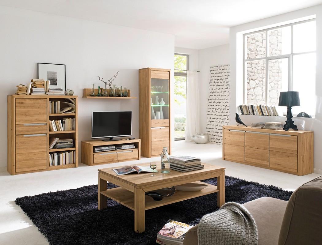 Wohnzimmer Eiche: Wohnzimmer Pisa 49 Eiche Bianco Massiv 6-teilig Wohnwand