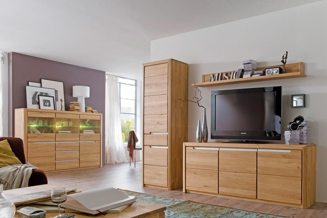 Wohnzimmer Pisa 55 Eiche bianco massiv 4-teilig Wohnwand Highboard