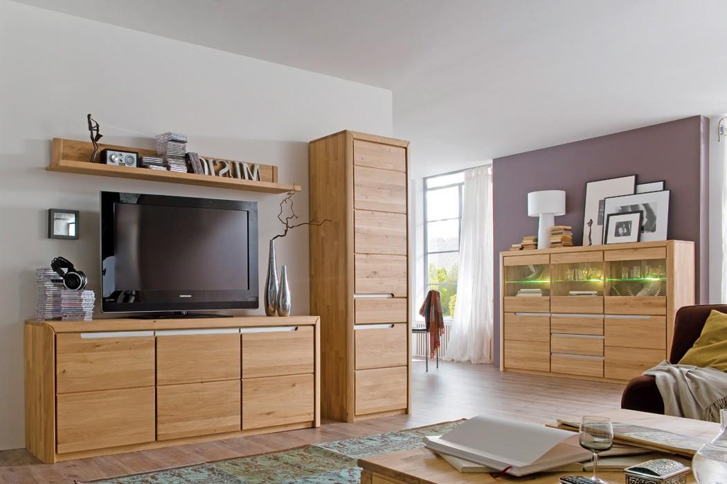 wohnzimmer pisa 56 eiche bianco massiv 4 teilig wohnwand highboard