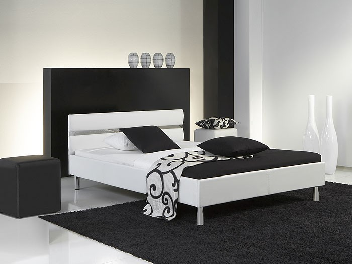 polsterbett easton 140x200 wei kunstleder singlebett jugendbett bett wohnbereiche schlafzimmer. Black Bedroom Furniture Sets. Home Design Ideas