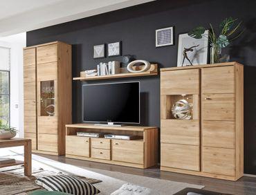 Wohnwand Lanciano 4-teilig Wildeiche teilmassiv Medienwand TV-Wand