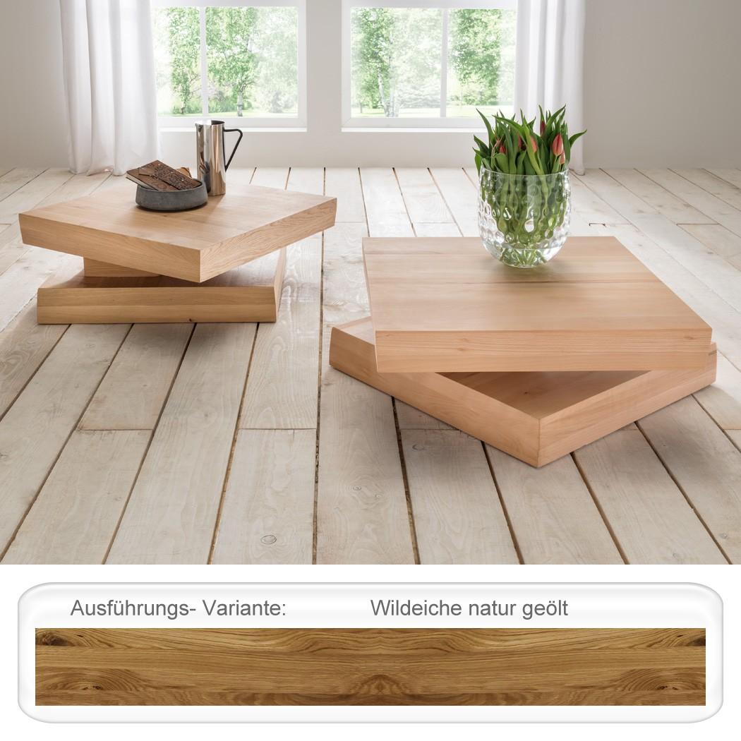couchtisch friso wildeiche ge lt 76x76x35cm drehbare. Black Bedroom Furniture Sets. Home Design Ideas