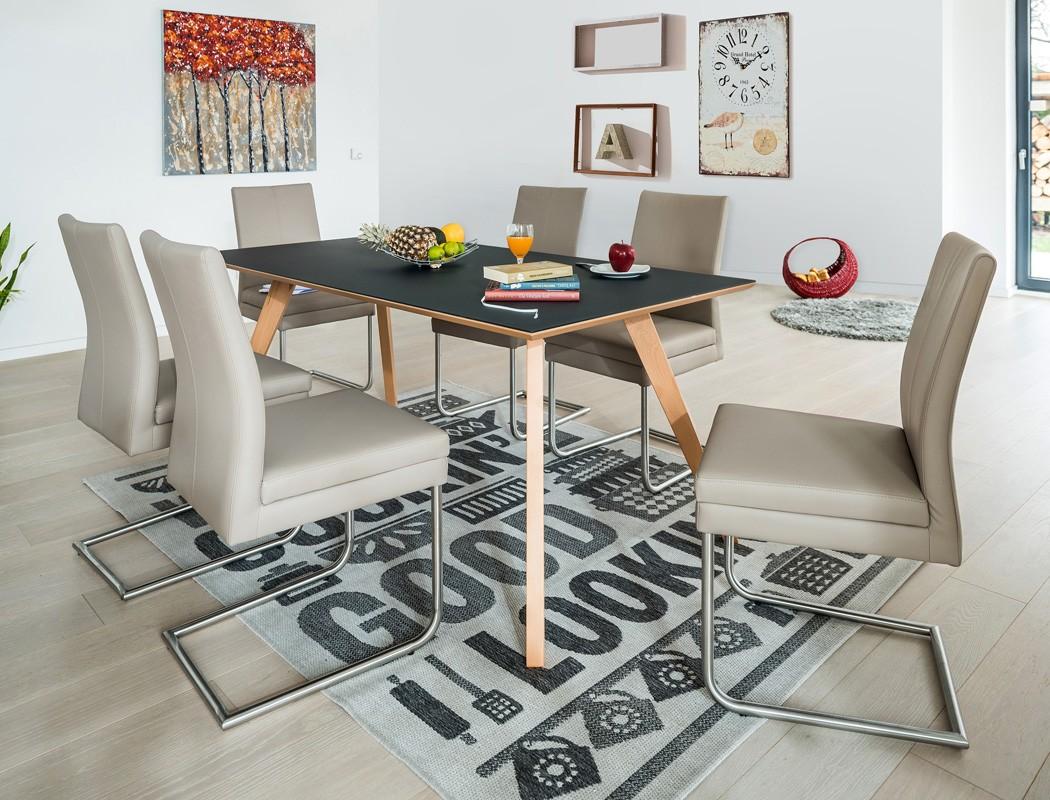 esstisch tromsa vidrio tisch mit glasplatte rechteckig. Black Bedroom Furniture Sets. Home Design Ideas