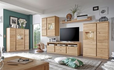 Wohnzimmer Lanciano 5-teilig Wildeiche teilmassiv Wohnwand Highboard