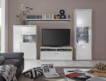 Wohnwand Travis 22 weiß Hochglanz 4-teilig Medienwand TV-Möbel TV-Wand