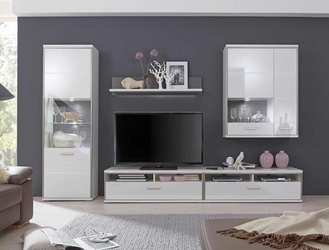 Details zu Wohnwand weiß Hochglanz 5-teilig Medienwand TV-Möbel TV-Wand  Wohnmöbel Travis 23