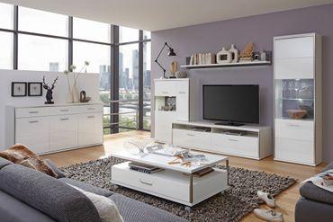Wohnzimmer Travis 32 weiß Hochglanz 6-teilig Wohnwand Sideboard Tisch