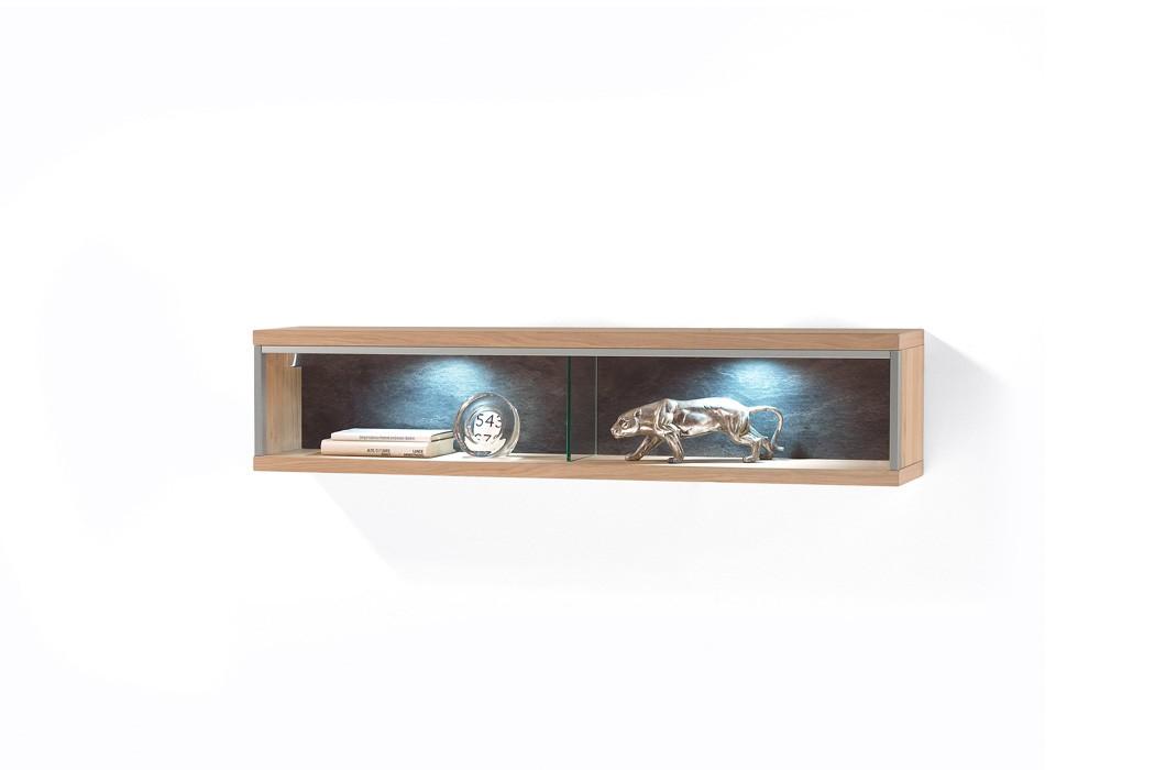 Wandboard Esma 11 Eiche bianco 124x27x23cm Wandregal Regal Beleuchtung