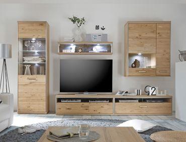 Wohnwand Esma 22 Eiche bianco 5-teilig Medienwand TV-Wand Beleuchtung