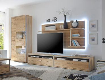Wohnwand Esma 24 Eiche bianco 4-teilig Medienwand TV-Wand Beleuchtung