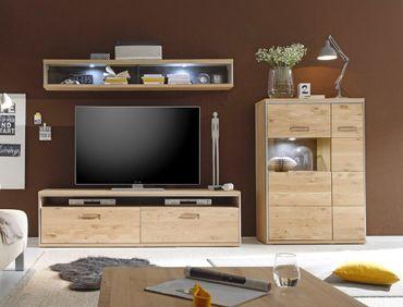 Wohnwand Esma 25 Eiche bianco 3-teilig Medienwand TV-Wand Beleuchtung