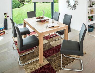 Tischgruppe Tisch Karabo XL Eiche bianco + 6 Schwingstühle Kaja Kaiman fango
