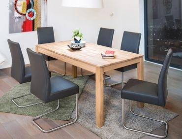 Tischgruppe Tisch Karlo 1XL Eiche bianco + 6 Stühle Kaja Kaiman fango