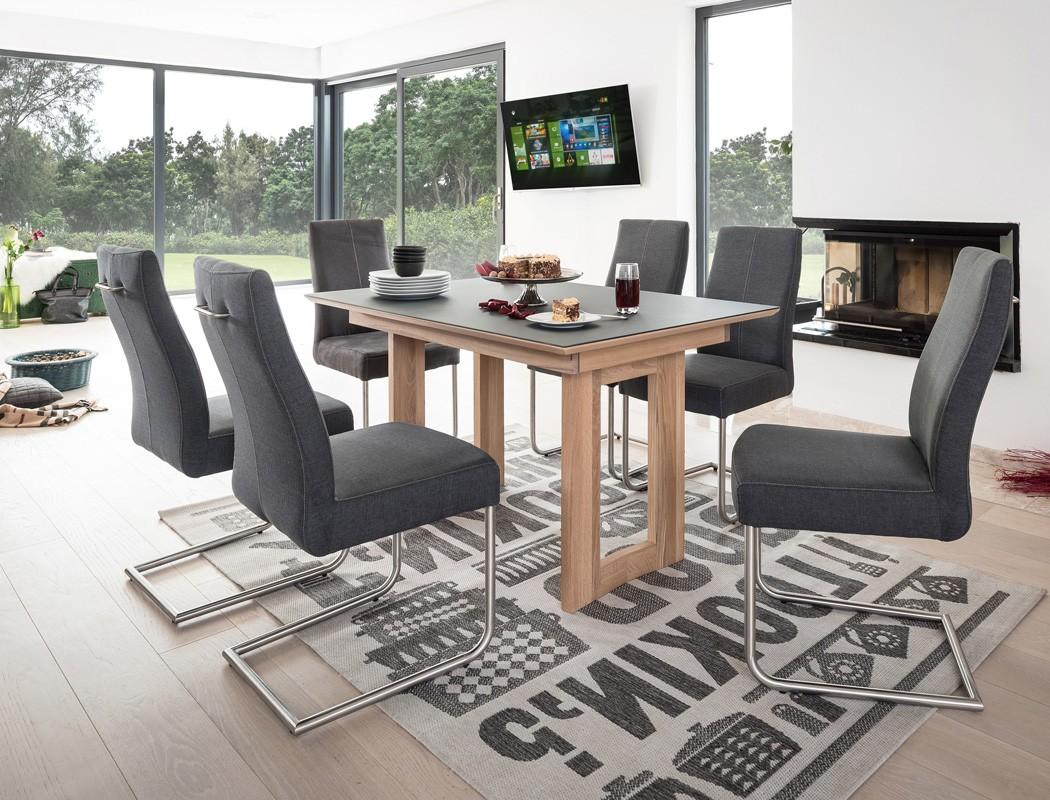 Tisch Kosta Vidrio Grau Eiche Bianco 130x90 6 Stuhle Giada Anthrazit