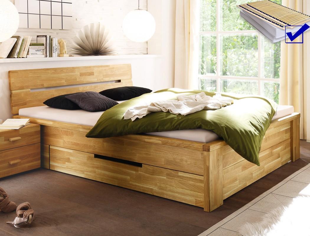massivholzbett caspar 180x200 wildeiche ge lt matratze lattenrost wohnbereiche schlafzimmer. Black Bedroom Furniture Sets. Home Design Ideas
