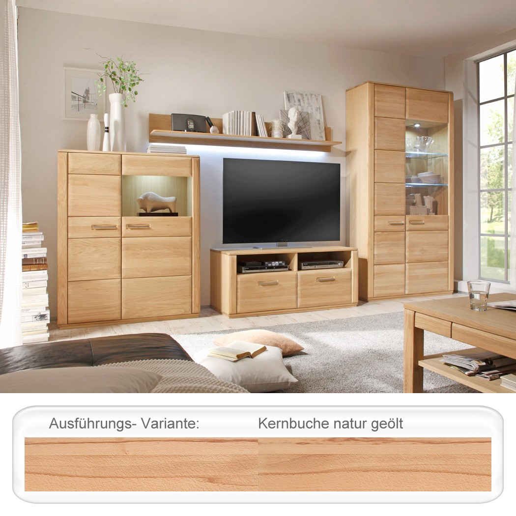 Wohnwand Kernbuche Teilmassiv 4-teilig Medienwand TV-Wand