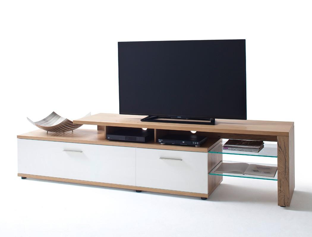 Lowboard Weiss Crack Eiche 238x56x50 Cm Tv Mobel Tv Schrank