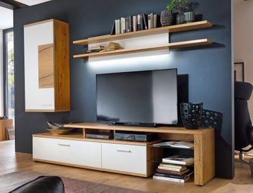 Wohnwand Nina 22 weiß Crack-Eiche 3-teilig Medienwand TV-Wand TV-Möbel