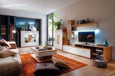 Wohnzimmermöbel weiß eiche  Wohnzimmer Nina 31 weiß Crack-Eiche 5-teilig Wohnwand Highboard ...