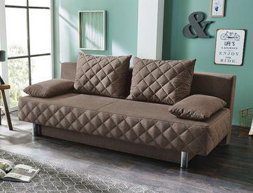 Funktionssofa Callum 200x90 cm braun Schlafsofa Couch Sofa Bettkasten