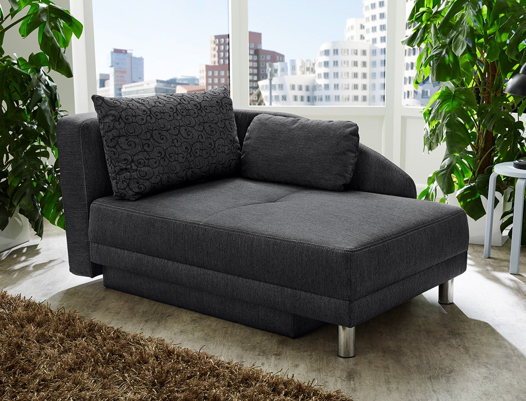 recamiere 149x90 cm anthrazit ottomane schlafsofa couch sofa bettkasten rocco ebay. Black Bedroom Furniture Sets. Home Design Ideas
