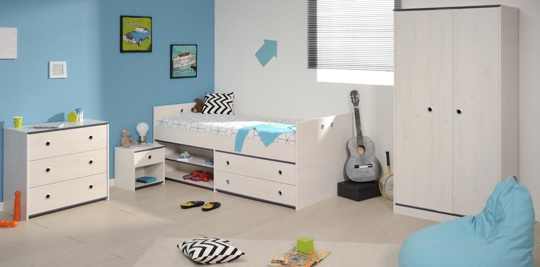 Kinderzimmer Snoopy 21a Kiefer Weiss Kinderbett Nako Schrank Kommode