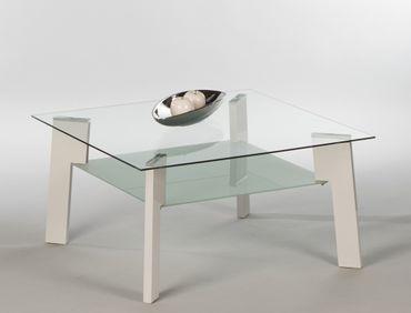 Couchtisch Jason Mini 80x80x42 cm weiß Hochglanz Sofatisch Glastisch